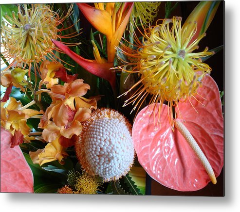 Flowers Metal Print featuring the photograph Tropical Bouquet by Ileana Carreno