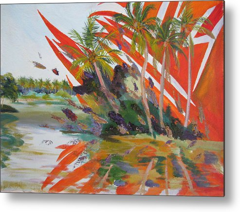 Tsunami Metal Print featuring the painting Tsunami by Art Nomad Sandra Hansen
