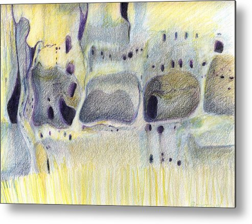 Bandelier National Monument Metal Print featuring the drawing Tuff Caves by Harriet Emerson