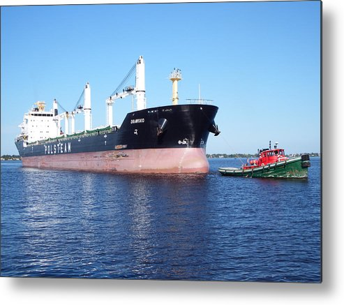Lake Superior Metal Print featuring the photograph Tug And Saltie by Alison Gimpel