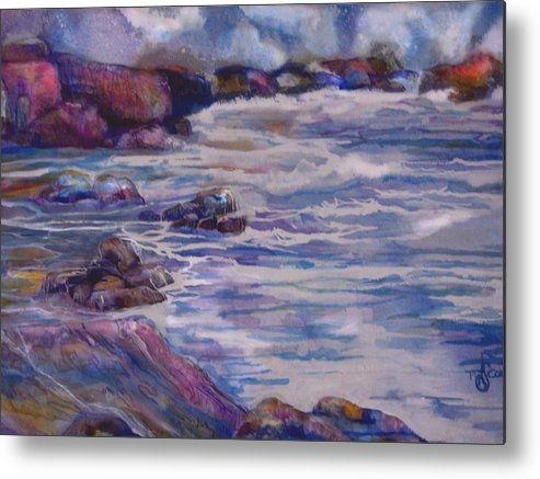 Seascape Metal Print featuring the painting Tug Of War by Mary Sonya Conti