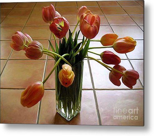 Nature Metal Print featuring the photograph Tulips In A Vase On Tile by Lucyna A M Green