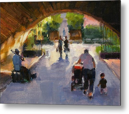 Urban Landscape Metal Print featuring the painting Tunnel In Central Park by Merle Keller