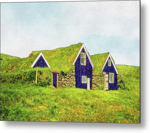 Iceland Metal Print featuring the digital art Turf Huts In Skaftafell by Frans Blok