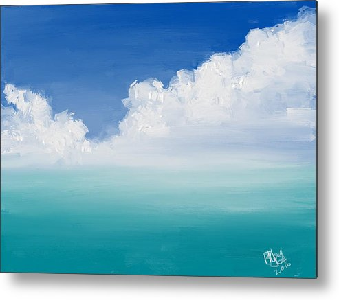 Seascape Metal Print featuring the painting Turquoise Sea by Bruce Young