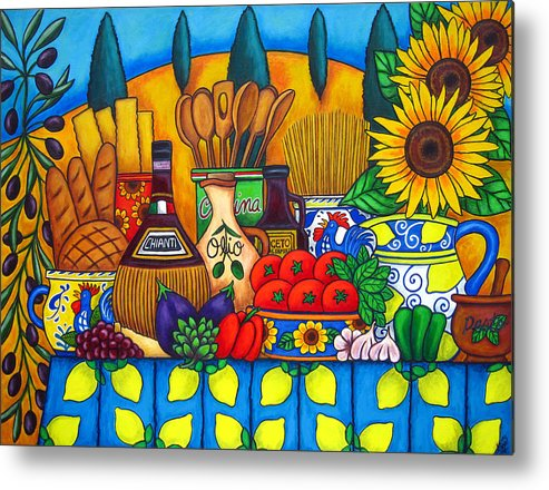 Still Life Metal Print featuring the painting Tuscany Delights by Lisa Lorenz