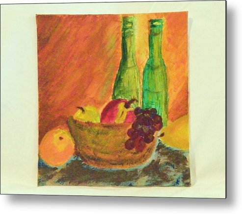 Still Lifes Metal Print featuring the painting Tuscany Lunch by Margaret G Calenda