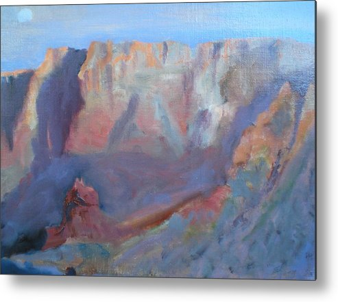 Landscape Sunset Virgin River Gorge Metal Print featuring the painting Twilight Time by Bryan Alexander
