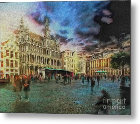 Painterly Metal Print featuring the digital art Two Nights In Brussels #21 Season's End by Leigh Kemp