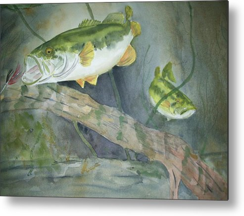 Underwater Metal Print featuring the painting Under The Surface by Audrey Bunchkowski
