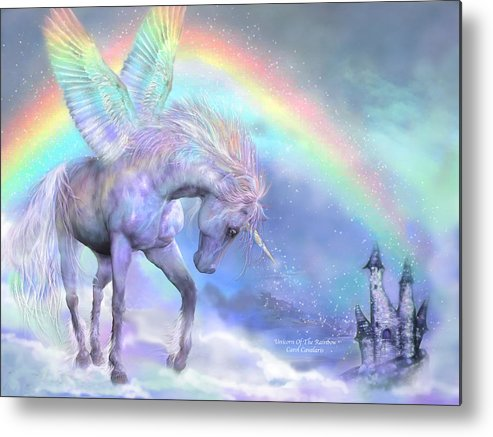 Unicorn Metal Print featuring the mixed media Unicorn Of The Rainbow by Carol Cavalaris