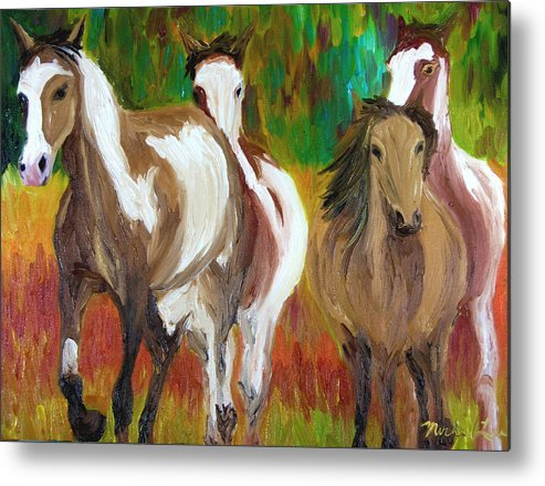 Mustangs Metal Print featuring the painting United By Color by Michael Lee
