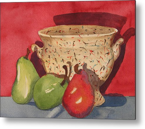 Pears Metal Print featuring the painting Urn With Pears by Libby Cagle