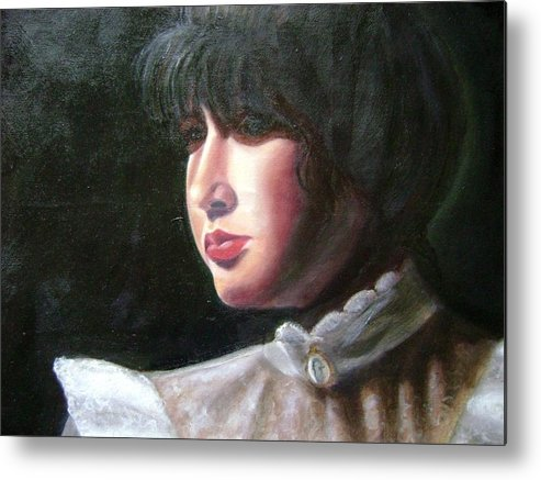 Girl In White Blouse Metal Print featuring the painting Victorian Blouse by Toni Berry