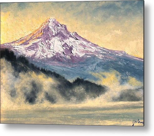 Lanscape Metal Print featuring the painting View Of Mt Hood by Jim Gola