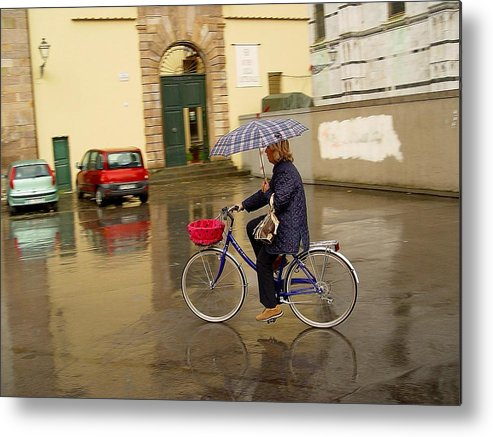 Lady On Bicycle Metal Print featuring the photograph Visions Of Italy Lucca by Nancy Bradley