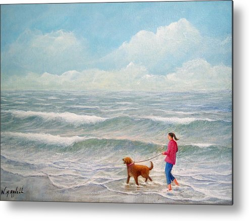 Seascape Metal Print featuring the painting Wading With Willy by William H RaVell III