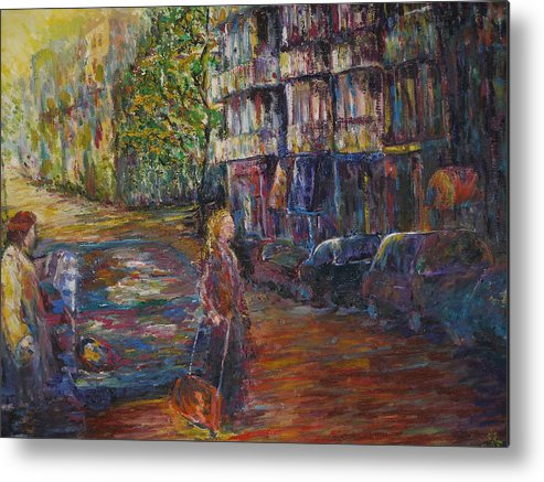 People Metal Print featuring the painting Waiting - New York by Wendy Chua