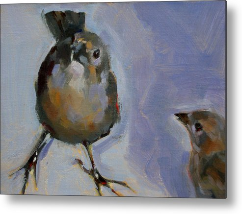 Birds Metal Print featuring the painting Waiting For Snacks by Merle Keller