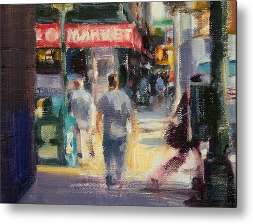 Cityscape Metal Print featuring the painting Walking In The West Village by Merle Keller