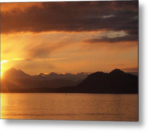 Sunrise Metal Print featuring the photograph Watching The Sun Rise Over Mt. Baker by Frieda Cron