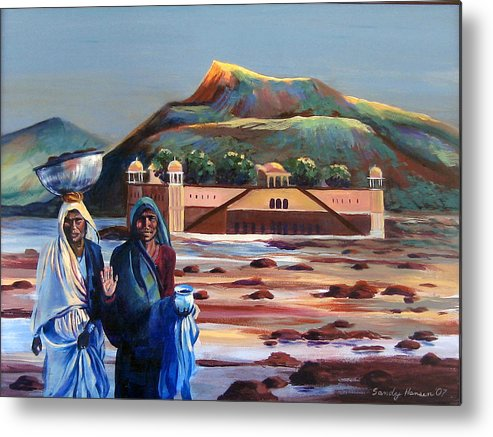 Water Palace Metal Print featuring the painting Water Palace In A Drought by Art Nomad Sandra Hansen
