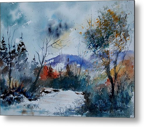 Landscape Metal Print featuring the painting Watercolor 802120 by Pol Ledent