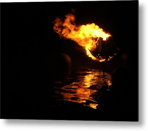 Brazier Metal Print featuring the photograph Waterfire 2007-1 by Nancy Ferrier