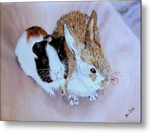 Pets Metal Print featuring the painting Wendy And Bobby by Helmut Rottler