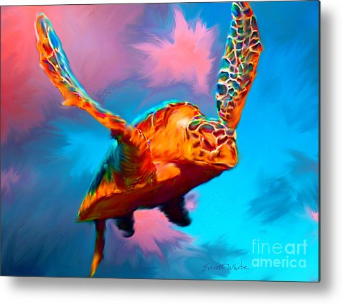 Turtle Metal Print featuring the painting When Turtles Fly by Everett White
