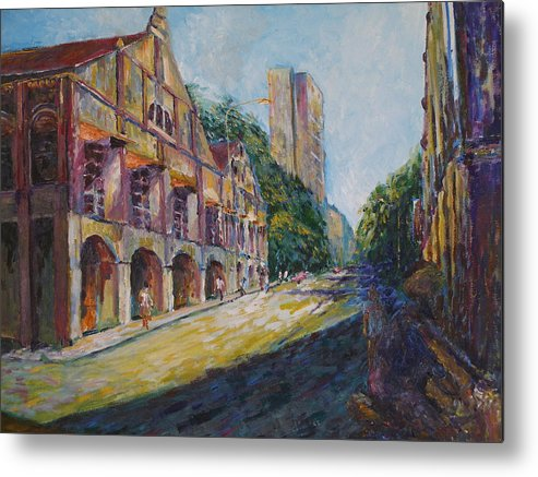 Buidlings Metal Print featuring the painting Where The Journey Began by Wendy Chua