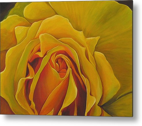 Yellow Rose Metal Print featuring the painting Where The Rose Is Sown by Hunter Jay