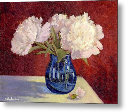 Peonies Metal Print featuring the painting White Peonies by Keith Burgess