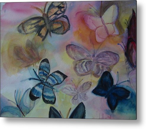 Butterfly Metal Print featuring the painting Who Is Prettiest by Marian Hebert