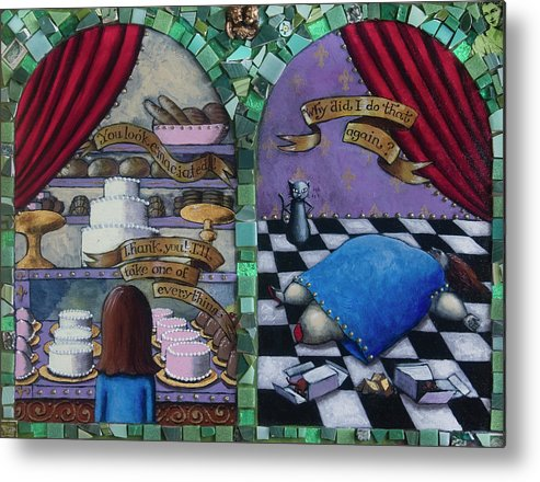 Cakes Metal Print featuring the painting Why Did I Do That Again by Pauline Lim