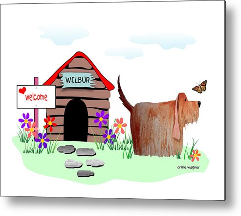 Dog Metal Print featuring the digital art Wilbur And The Butterfly by Arline Wagner