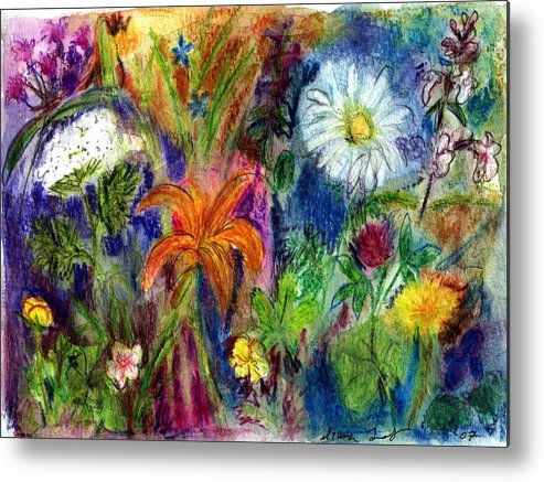 Wildflower Metal Print featuring the painting Wild Backyard Meadow by Diana Ludwig
