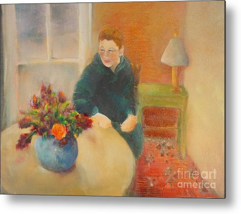Portrait Metal Print featuring the painting William  Copyrighted by Kathleen Hoekstra