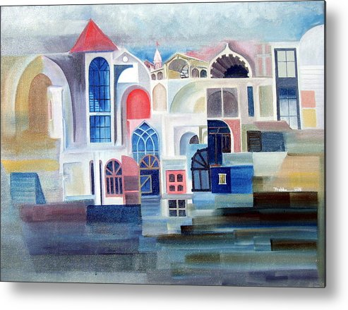 Abstract Metal Print featuring the painting Windows by Prabhu Dhok