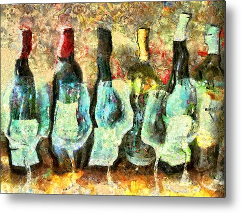 Wine Metal Print featuring the mixed media Wine On The Town by Marilyn Sholin