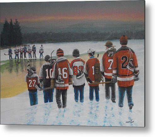 Winter Metal Print featuring the painting Winter Classic 2012 by Ron Genest