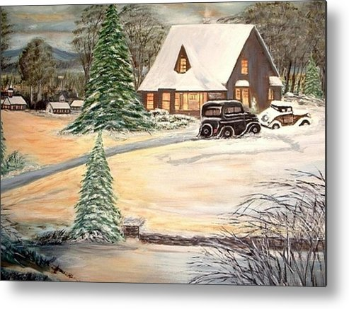 Landscape Home Trees Church Winter Metal Print featuring the painting Winter Home by Kenneth LePoidevin