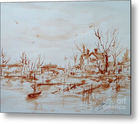 Landscape Metal Print featuring the painting Winter Sketch 1 by Xueling Zou
