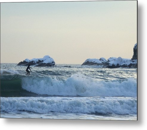 Winter Metal Print featuring the photograph Winter Surfing 2 by Heidi Kummer