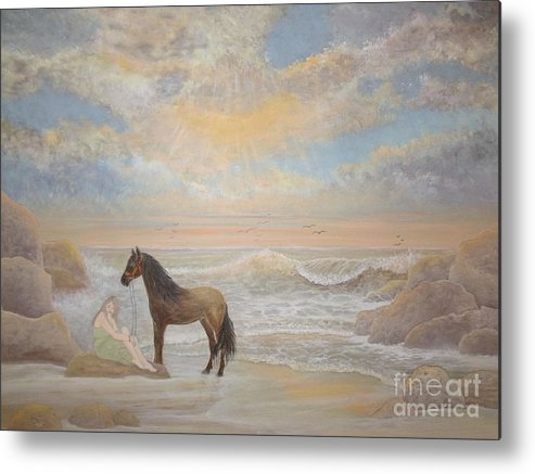 Horse Metal Print featuring the painting With A Song In My Heart by Patti Lennox
