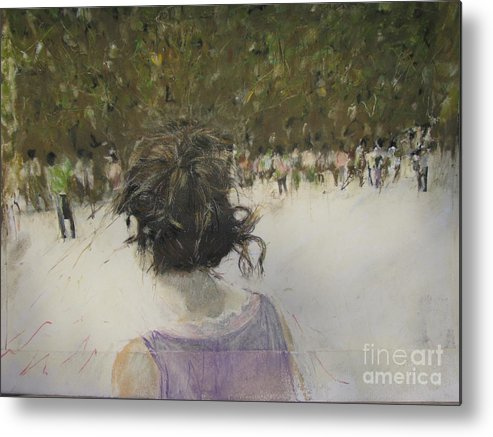 Pastel Metal Print featuring the painting Woman And Croud In Park by Sigalit Aharoni