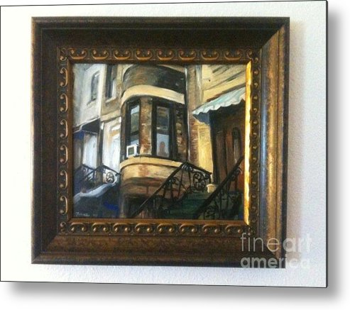 Street Scene Metal Print featuring the painting Woman In A Window by Jason Felkner