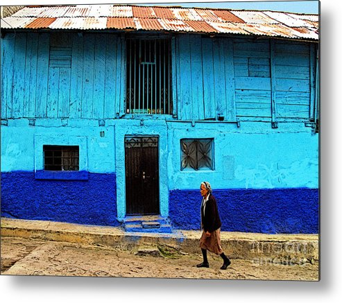 Patzcuaro Metal Print featuring the photograph Woman Walking By The Blue House by Mexicolors Art Photography