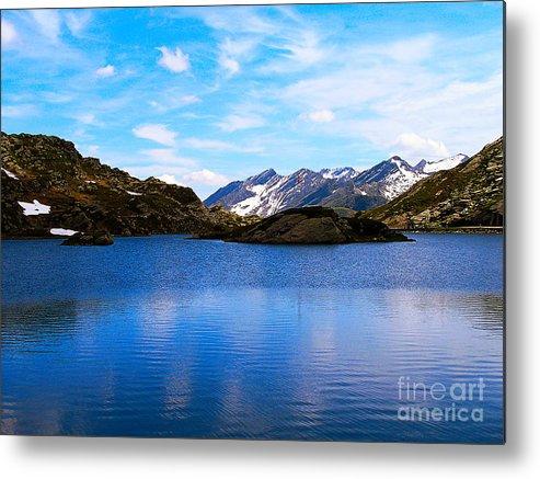 Beautiful Metal Print featuring the photograph Wonderful Lake San Bernardino In Switzerland. by Tatyana Gundar