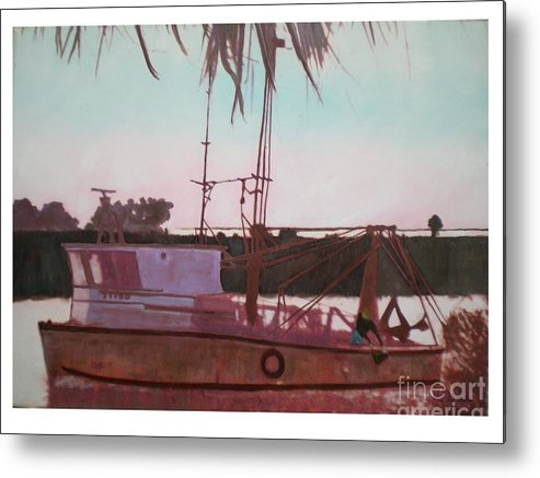Seascape Metal Print featuring the digital art Yankee Town Fishing Boat by Hal Newhouser